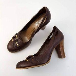 Franco Sarto Brown Leather Buckle Heels